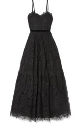 Costarellos Velvet Trimmed Guipure Lace Gown Black