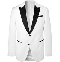 Hugo Boss White Helward Slim Fit Satin Trimmed Cotton Velvet Tuxedo Jacket