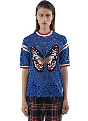 Gucci Butterfly Patch Floral Lace T Shirt Blue