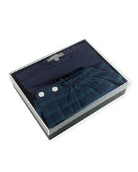 Neiman Marcus Two Piece Plaid Pajama Gift Set Navy