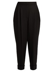 Dolce And Gabbana High Waisted Tapered Leg Wool Blend Trousers Black