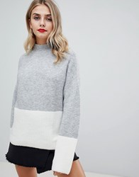 Missguided Colour Block Jumper Grey