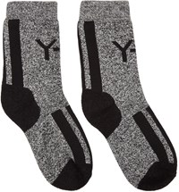 Y 3 White And Black Marled Logo Socks