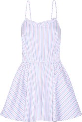 Caroline Constas Demi Striped Cotton Oxford Playsuit White