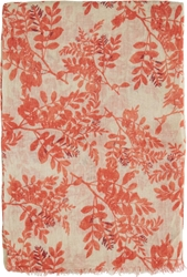 Closed Beige And Red Floral Scarf