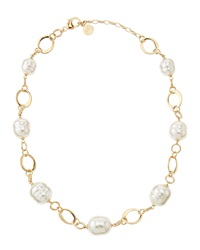 Majorica Flat Link Faux Pearl Necklace