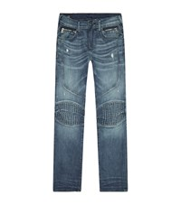 True Religion Light Wash Biker Jeans Male Blue