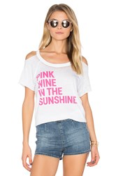 Chaser Pink Wine Cold Shoulder Tee White