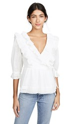 Endless Rose Frill Lace Wrap Blouse White