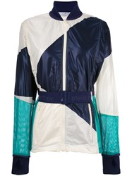Adidas By Stella Mccartney Contrast Belted Bomber Jacket Green
