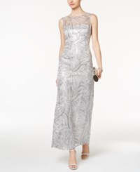 Tahari By Arthur S. Levine Asl Sequined Illusion Column Gown Silver