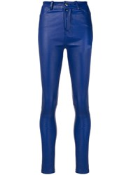 Manokhi Second Skin Trousers Leather Polyester Viscose Blue