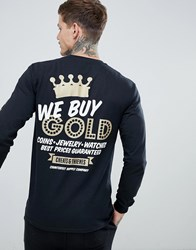 Cheats And Thieves Gold Back Print Long Sleeve Top Black