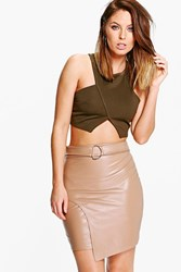 Boohoo Asha D Ring Leather Look Mini Skirt Tan