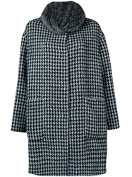 Manzoni 24 Houndstooth Fur Collar Coat Blue