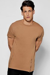Boohoo Longline T Shirt With Front Zips Tan