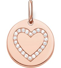 Thomas Sabo Love Coin Engravable Rose Gold Plated Sterling Silver Heart Pendant
