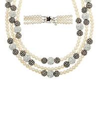 Lord And Taylor Sterling Silver Pearl Crystal Strand Necklace With Oxidized Beads