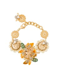 Dolce And Gabbana Bee Flower Filigree Bracelet Metallic