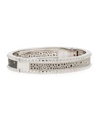 Roberto Coin Rock And Diamond Small 18K White Gold Bangle Bracelet