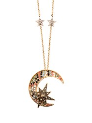 Roberto Cavalli Moon And Star Embellished Necklace Multi