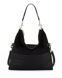 Neiman Marcus Faux Suede Fold Over Hobo Bag Black Blac
