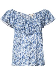 Rebecca Taylor Floral Print Top Women Cotton 4 Blue