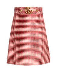 Gucci Gg Wool Blend Skirt Red White