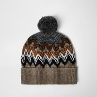 River Island Mens Light Brown Fairisle Knit Bobble Hat