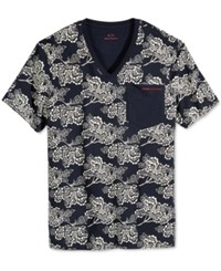 Armani Exchange Men's Floral Print T Shirt Navy