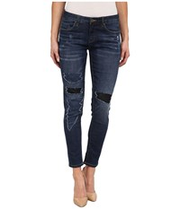 Blank Nyc Denim With Black Color Block Rips In Denim Blue Denim Blue Women's Jeans