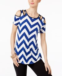Ny Collection Cold Shoulder Cutout Blouse Zigzag Blue