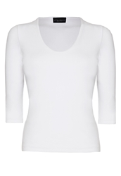 James Lakeland Basic Scoop Top White