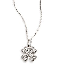 Kc Designs Diamond And 14K White Gold Clover Pendant Necklace