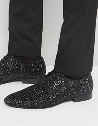 Dune Glitter Lace Up Shoes In Black Black