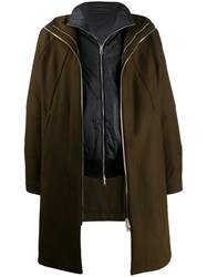 Andrea Ya'aqov Layered Hooded Coat Green