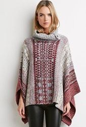 Forever 21 Tribal Pattern Poncho Wine Grey