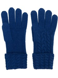 N.Peal Cable Knit Gloves Blue