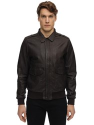 Schott Zip Up Washed Leather Jacket Brown