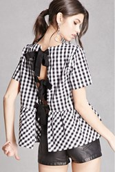 Forever 21 Gingham Bow Back Top Black
