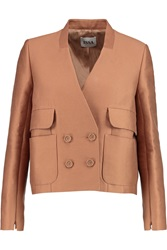 Issa Peggy Cotton And Silk Blend Jacket Brown