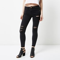 River Island Petite Black Amelie Ripped Super Skinny Jeans