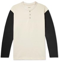 Fear Of God Oversized Colour Block Loopback Cotton Jersey Henley T Shirt Cream
