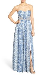 Women's A. Drea Embellished Snake Print Strapless Gown