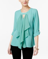 Thalia Sodi Ruffle Front Blouse Only At Macy's Beryl Green