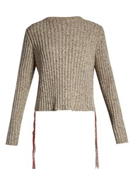 The Row Fenix Side Fringe Ribbed Knit Sweater Beige