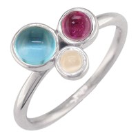London Road 9Ct Gold 3 Stone Bubble Cocktail Ring M White Gold Multi