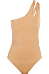 Melissa Odabash Jamaica One Shoulder Swimsuit Gold