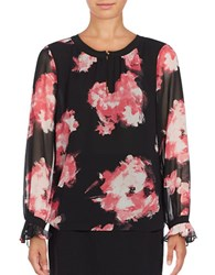 Ellen Tracy Modern Art Keyhole Long Sleeve Blouse Floral