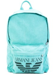 Armani Jeans Logo Print Backpack Men Cotton Polyester Polyurethane Viscose One Size Green